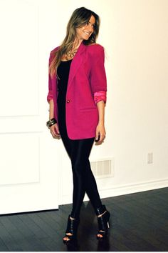 Leggings for a night out with pink vintage blazer!