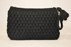 Crochet Black Textured Clutch With Handmade Handle And Zipper, Crochet Black Everyday Wristlet, Women Handmade Large Clutch, Cosmetic Bag Human Trafficking, Black Ribbon, Knit Or Crochet, One Pic, Cosmetic Bag, Handle, Zipper, Texture, Knitting