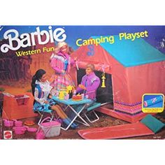 1989 - 1990 Barbie Western Fun - Camping Playset 1015 - includes Sleeping Bag, Tent and Stone BBQ Grill Barbecue Barbeque - Arco Toys Mattel Barbie Camper, Barbie 80s, Vintage Barbie, Barbie Doll House, Barbie Dream, Barbie World, Vintage Toys, Barbie Stuff, Vintage Campers