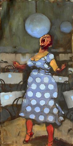 Artist: Michael Carson (b. oil on canvas {figurative art singing female polka dots standing african-american black woman painting Blues ! African American Art, African Art, Illustrations, Illustration Art, Black Artwork, Afro Art, Caricatures, Oeuvre D'art, Figurative Art