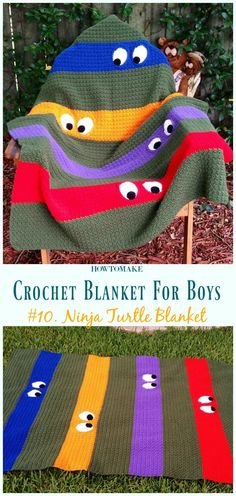 Teenage Mutant Ninja Turtle Blanket Free Crochet Pattern- #Crochet; #Blanket; Free Patterns For Boys