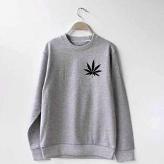 Gray Hoodie Weed Leaf Print