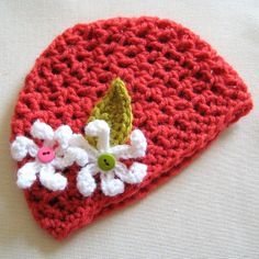 Cute! Custom Order Red Coral Crochet Baby Beanie Hat by littlebrownbird, $20.00