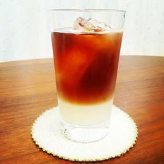 できた!セパレートミルクティー! ミルクと紅茶が上下で分かれてるあれです。  #お茶 #紅茶 #アイスティー #アイスミルクティー…