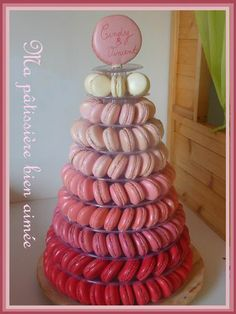 ombre macaron tower. would be cool in purple or green!