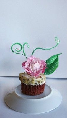 Pink Flower Cupcake Topper Made from Gumpaste