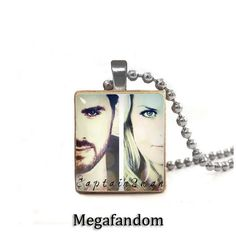 Emma Swan and Captain Hook Scrabble Tile Pendant with ball chain Once Upon a Time Jewelry