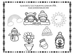 kış mevsimi Christmas Cards Drawing, English Class, Winter Activities, Worksheets, Preschool, Projects To Try, Snoopy, Clip Art, Seasons