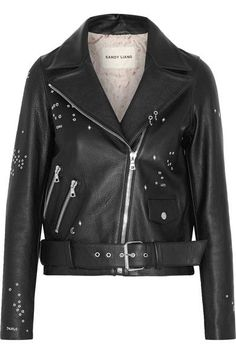 Sandy Liang - Astro Delancey Embroidered Textured-leather Biker Jacket - Black - VIA NET-A-PORTER SALE - AVAILABLE HERE: http://rstyle.me/~9Z6af