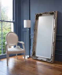 CARVED LOUIS LEANER MIRROR (SILVER) Mirrors.