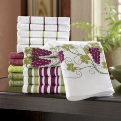 Grape Towel Set from Seventh Avenue ® Wine Theme Kitchen, Grape Kitchen Decor, Purple Kitchen, Kitchen Decor Themes, Kitchen Dinning, Kitchen Linens, Wine Craft, Kitchen Storage Solutions, Wine Decor