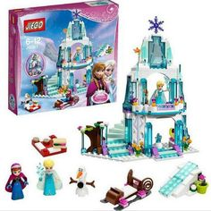 GXHMY 316pcs Princess Elsa Sparkling Ice Castle Building Blocks Anna Olaf Figure Bricks Toys Compatible Legoe Friends for Girl