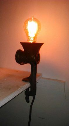 Upcycled Vintage Meat Grinder Lamp with Edison bulb 60w Squirrel cage by 1manstrashTreasures on Etsy