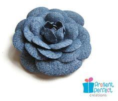 Distressed denim camellia brooch, denim fabric flower. $16.00, via Etsy.