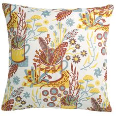 Nature Table cushion cover by Angie Lewin. Shown in red earth/gold colour way.