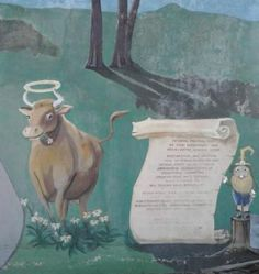 Halo Cow at Lower Right side of mural, Saginaw St, Flint Michigan Vernor's mural next to Halo Burger