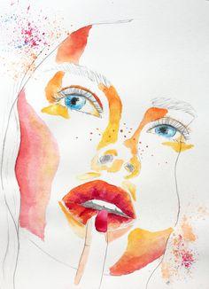 Watercolor Portrait combined with pencil drawing #watercolor #aquarell #nature #art #paint #painting #watercolorpainting #wasserfarben #malerei #kunst #illustration #awuarello #peinture #aquarela #arte #portrait