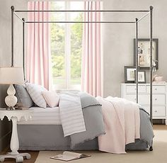 Gray/white/blush pink....love this bedroom. Black Rod iron bed.