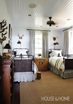 Cottage Bedroom  House & Home / ceiling, sisal rug, monogrammed wicker trunk as bedside table