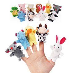10 SZTUK Cute Cartoon Biologiczna Zwierząt Finger Lalek Pluszowe Zabawki Dziecka Favor Lalki Dla Dzieci Chłopcy Dziewczęta Finger Puppets