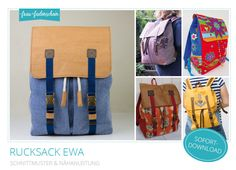 Nähanleitungen Taschen - Schnittmuster Rucksack Ewa PDF-Ebook - ein Designerstück von frau_fadenschein bei DaWanda