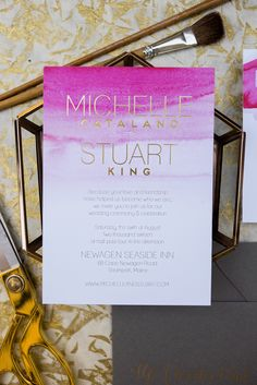 magenta gold and grey wedding invitations, Gold foil modern text, bright pink watercolor wedding invite suite, Wouldn't it be Lovely
