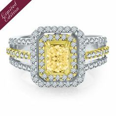 Helzberg Limited Edition® 1 4/5 ct. tw. Yellow Diamond Engagement Ring in 14K & 18K Gold - Colored Diamond Rings - Colored Diamonds - Collec...
