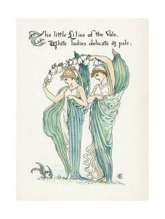 Walter Crane – Illustration from Flora's Feast: A Masque of Flowers 1889 Flower Fairies, Flower Art, Lily Of The Valley Flowers, Walter Crane, English Artists, All Nature, Nature Quotes, Children's Book Illustration, Book Illustrations