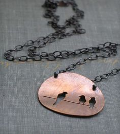 Birds on a Wire Pendant Necklace   Jewelry   Metamorphosis Metals   Scoutmob Shoppe   Product Detail