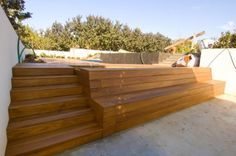 Planter Bench Design Ideas - use to frame out above ground pool Deck Steps, Porch Steps, Outdoor Steps, Backyard Patio, Backyard Landscaping, Planter Bench, Deck Construction, Bench Designs, Diy Deck