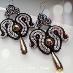 Pirite soutache black & grey earrings