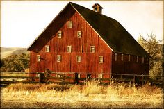 A red barn with lots of windows.