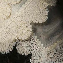 Detail (lace collar) from Portrait of a Woman, Possibly Maria Trip, Rembrandt Harmensz. van Rijn, 1639 - (Rembrandt Closer - Collected works of Glauce - Rijksstudio - Rijksmuseum)