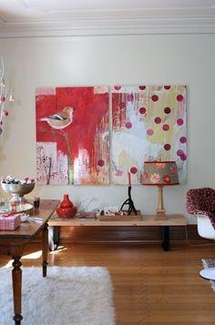 Canvas art, big and low. Modern Art, Contemporary Art, Wal Art, Bird Art, Love Art, Painting Inspiration, Canvas Art, Large Canvas, Art Projects