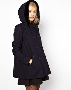 Image 1 of ASOS Hooded A-Line Duffle Coat With Fur Trim Hood