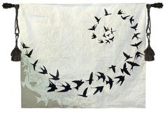 Flight Contemporary Tapestry Wall Hanging - Modern Design With Birds, 64in X 53in