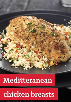 Mediterranean Chicken Breasts -- In this recipe, boneless chicken breasts are cooked in a flavorful coating of bread crumbs, pecorino Romano cheese and basil until tender and crispy.