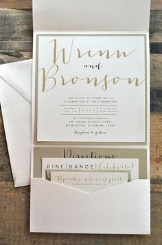 Gold and ivory wedding invitation suite with modern black details - so elegant and chic