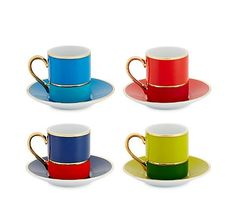 Because the only thing better than color in the morning is coffee.  Colorblock Espresso Set, $48, cwonder.com