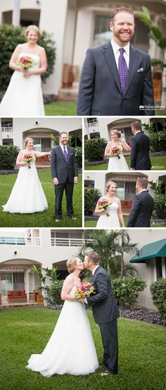 Maui wedding first look by Mike Sidney Photography / www.mikesidney.com
