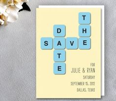 Crossword Puzzle Save The Date from @etsy wedding seller A Visual Concept