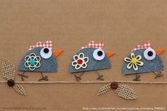 Chicks taking a little walk. Jean Crafts, Denim Crafts, Diy And Crafts, Crafts For Kids, Arts And Crafts, Paper Crafts, Wool Applique, Applique Patterns, Arte Punch