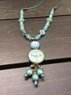 Dragonfly and Flowers Czech Glass Beads Leather Necklace \\ Boho Jewelry \\ Woodland Fairie Necklace \\ Blue Flower Necklace\\