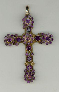 Beautiful Fine Antique Austo-Hungarian Silver 14kt Large Amythest Cross Pendant