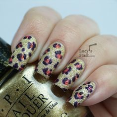 Lucy's Stash: Textured Leopard Print Nail Art feat. OPI Bond Girls Liquid Sand collection polishes