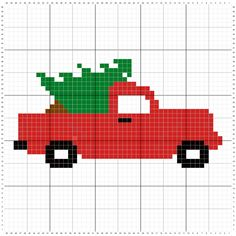 Crochet Vintage Christmas Truck Graph - Just Crafting Around. I would remove the tree to make it a vintage truck version but with pastel colors. Christmas Tree Pattern, Crochet Christmas Ornaments, Cross Stitch Patterns Free Christmas, Crochet Snowflakes, Cross Stitch Tree, Cross Stitch Embroidery, Christmas Red Truck, Christmas Cross, Christmas Angels
