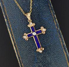 Diamond Blue Enamel 14K Gold Cross Pendant Necklace