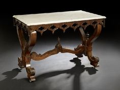 c1840 Gothic table, mahogany, marble, attr J&JW Meeks, NYC, 43l, 10-8.