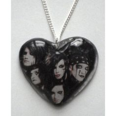 Black Veil Brides full band glam rock lace heart on chain ❤ liked on Polyvore featuring jewelry, kohl jewelry, bridal jewellery, black heart jewelry, chain jewelry and lace jewelry