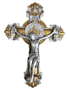 Benedict crucifix is exclusively designed and exquisitely sculpted for Avalon Gallery™. Back of crucifix features the back of the medal and a keyhole for ease of hanging. Cross Pictures, Jesus Pictures, Heaven Tattoos, Tattoo Studio, Christ Tattoo, Jesus Photo, Mens Gold Jewelry, Christian Artwork, The Cross Of Christ